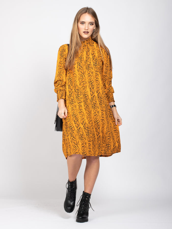 Long Sleeve High Neck Box Dress, Yellow Snake