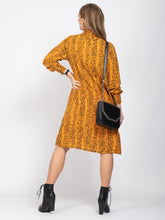Load image into Gallery viewer, Long Sleeve High Neck Box Dress, Yellow Snake