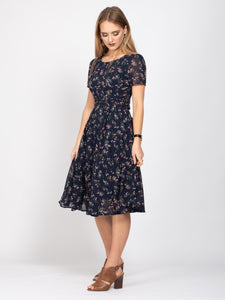 Boat Neck Tie Waist Dress, Navy Floral