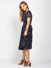 Load image into Gallery viewer, Boat Neck Tie Waist Dress, Navy Floral