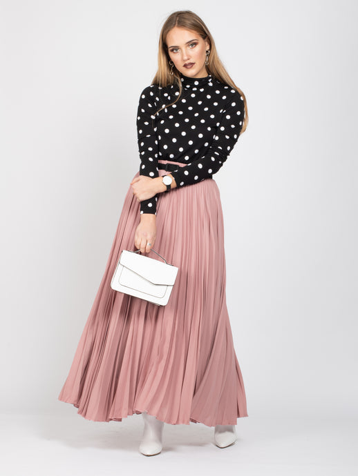 Crepe Pleated Maxi Skirt