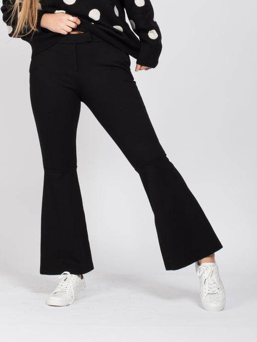 Black Flared Pearl Detail Trousers, Black
