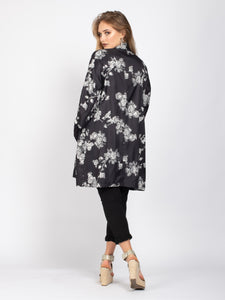 Kimono with Pockets, Black Floral