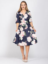 Load image into Gallery viewer, Mother of the Bride V-Neck Half Sleeve Midi Dress, Navy Flroal