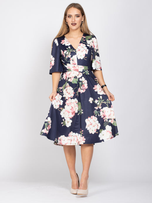 Mother of the Bride V-Neck Half Sleeve Midi Dress, Navy Flroal