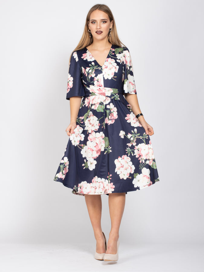 Sample Sale- V-Neck Half Sleeve Midi Dress, Navy Flroal
