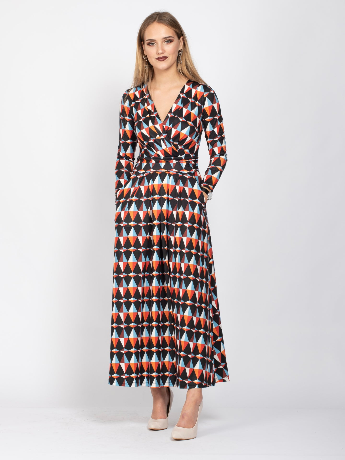 Full Sleeve Wrap Maxi Jersey Dress