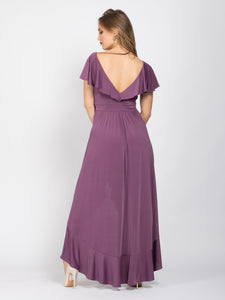 Bridesmaid Frill Detail Dip Hem Wrap Dress, Mauve