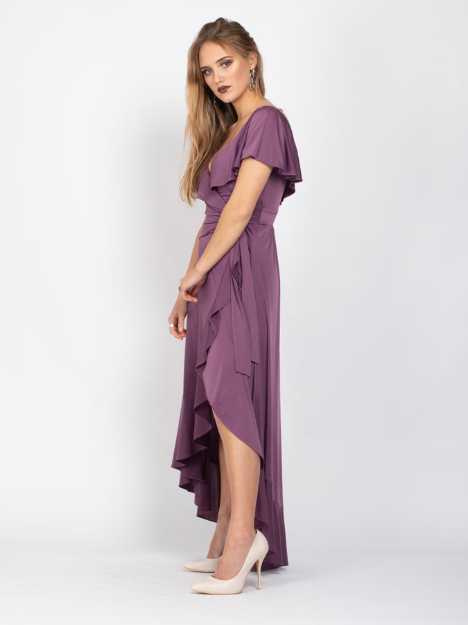 Sample Sale- Frill Detail Dip Hem Wrap Dress, Mauve