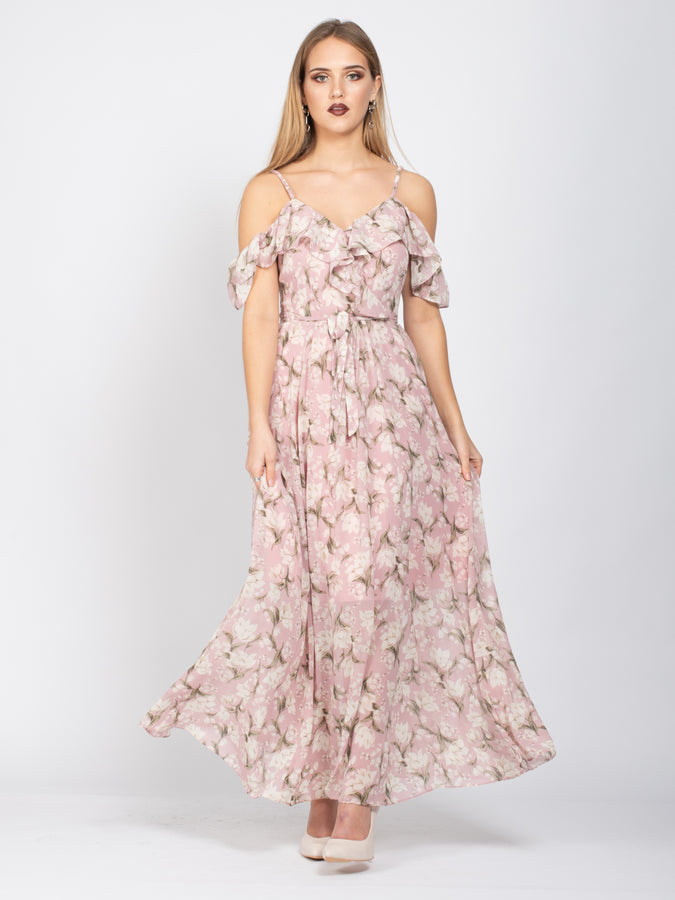 Sample Sale - Frill Detail Maxi Dress, Pink Floral