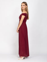 Load image into Gallery viewer, Bridesmaid Mesh Twist Bardot Neck Maxi Dress, Burgundy