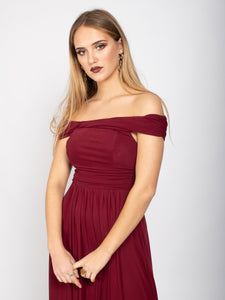 Bridesmaid Mesh Twist Bardot Neck Maxi Dress, Burgundy