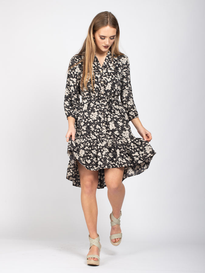 Sample Sale -Flare Hem Tie Waist Shirt Dress, Cream Floral