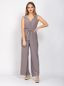 Sleeveless Crossover Jumpsuit, Taupe
