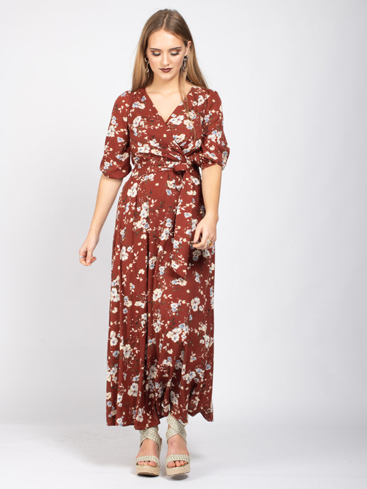 Wrap Front Maxi Dress, Brick Red Floral