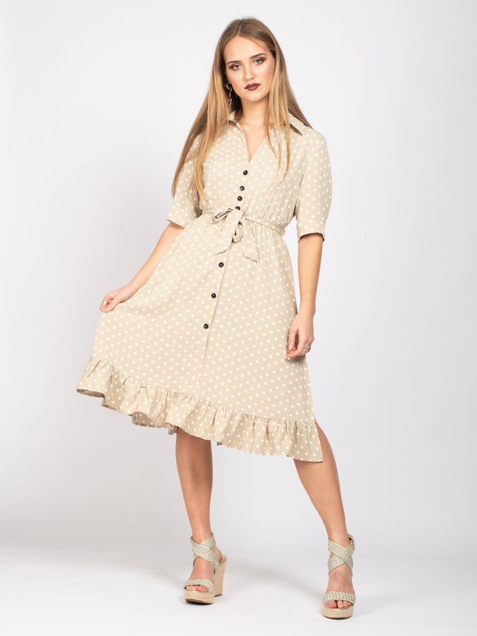 Button Down Shirt Dress, Beige Polka