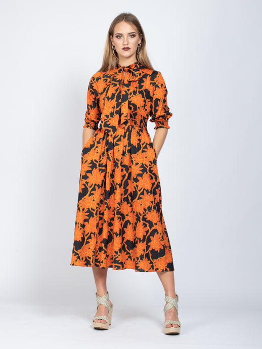 3/4 Sleeve Tie Neck Maxi Dress, Orange Floral