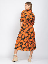 Load image into Gallery viewer, 3/4 Sleeve Tie Neck Maxi Dress, Orange Floral