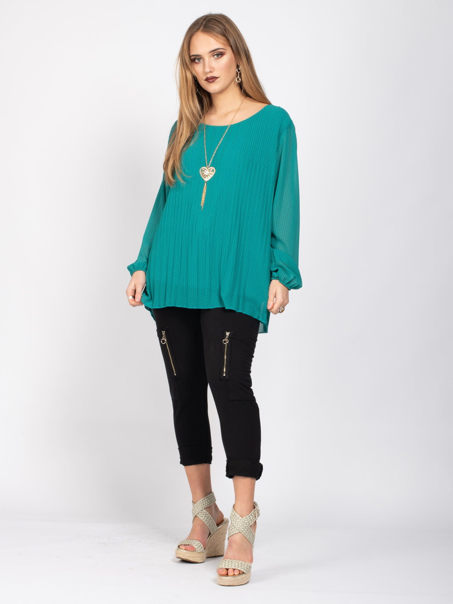 Pleated Blouse With Necklace, Green Polka