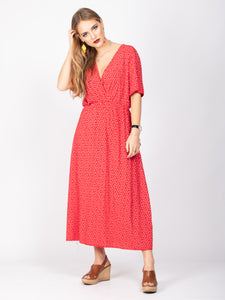 V-Neck Floral Print Midi Dress, Red Floral