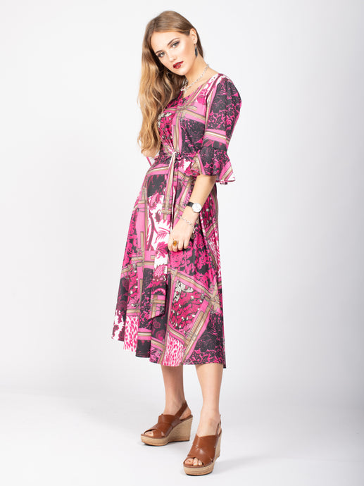 Frill Sleeve Tie Waist Tea Dress, Pink Pattern
