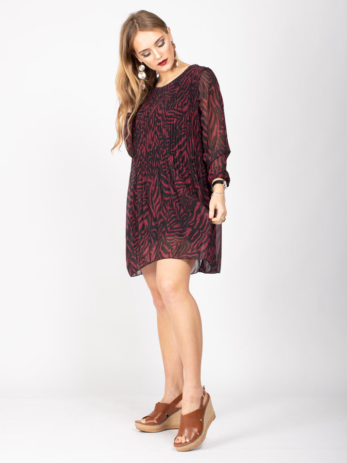 Long Sleeve Boat Neck Dress, Burgundy Zebra Print