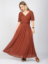 Load image into Gallery viewer, Bridesmaid V-Neck Angel Sleeve Maxi Dress, Rust