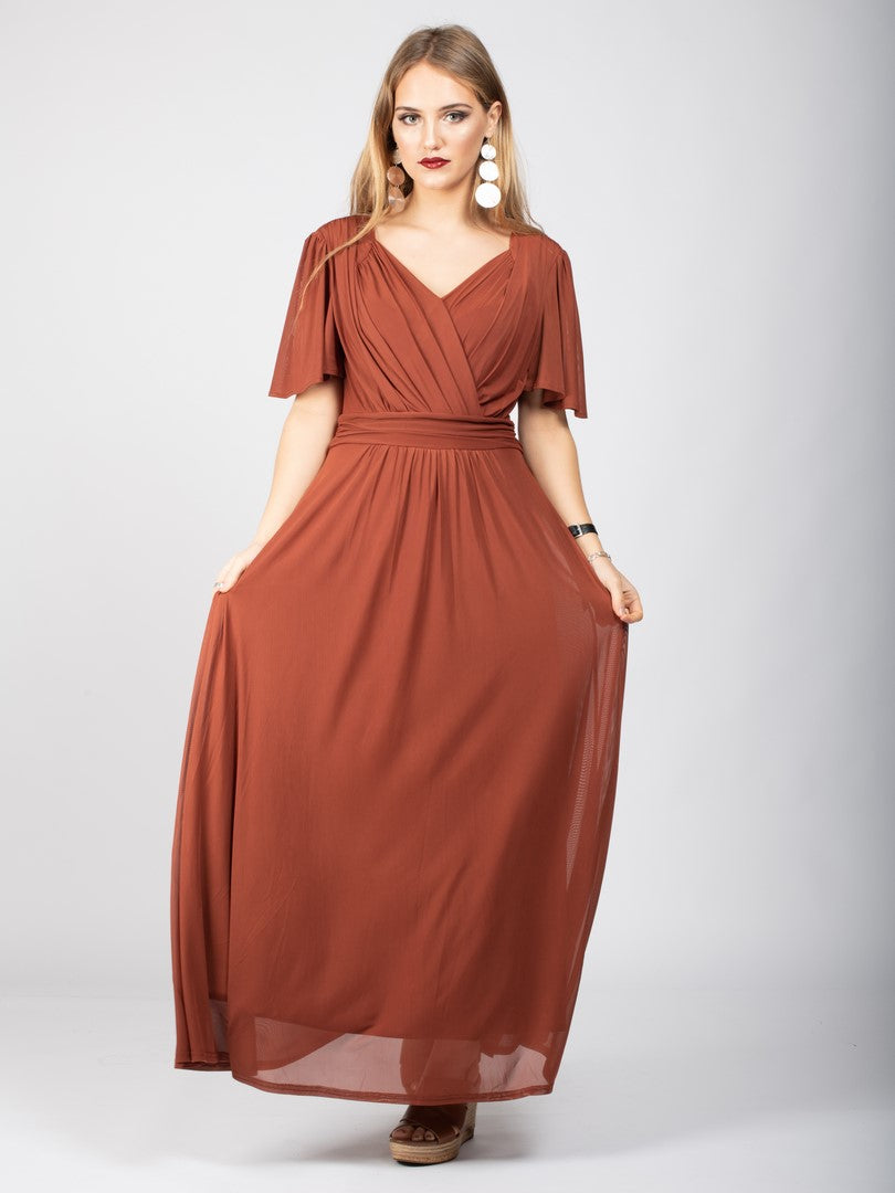 Bridesmaid V-Neck Angel Sleeve Maxi Dress, Rust
