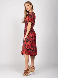 Frill Detail Cinched Midi Dress, Orange Floral