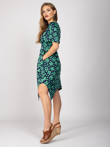 Butterfly Sleeve Handkerchief Hem Midi Dress, Green Spot