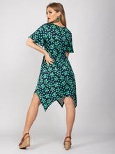 Load image into Gallery viewer, Butterfly Sleeve Handkerchief Hem Midi Dress, Green Spot