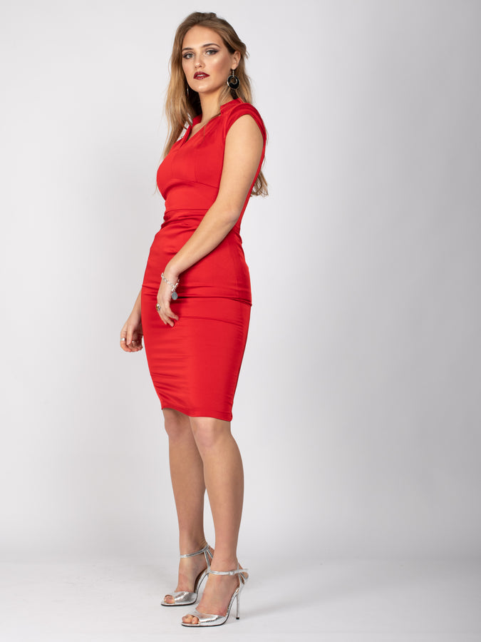 Sample Sale - Cap Sleeve Collared Bodycon Midi Dress, Red