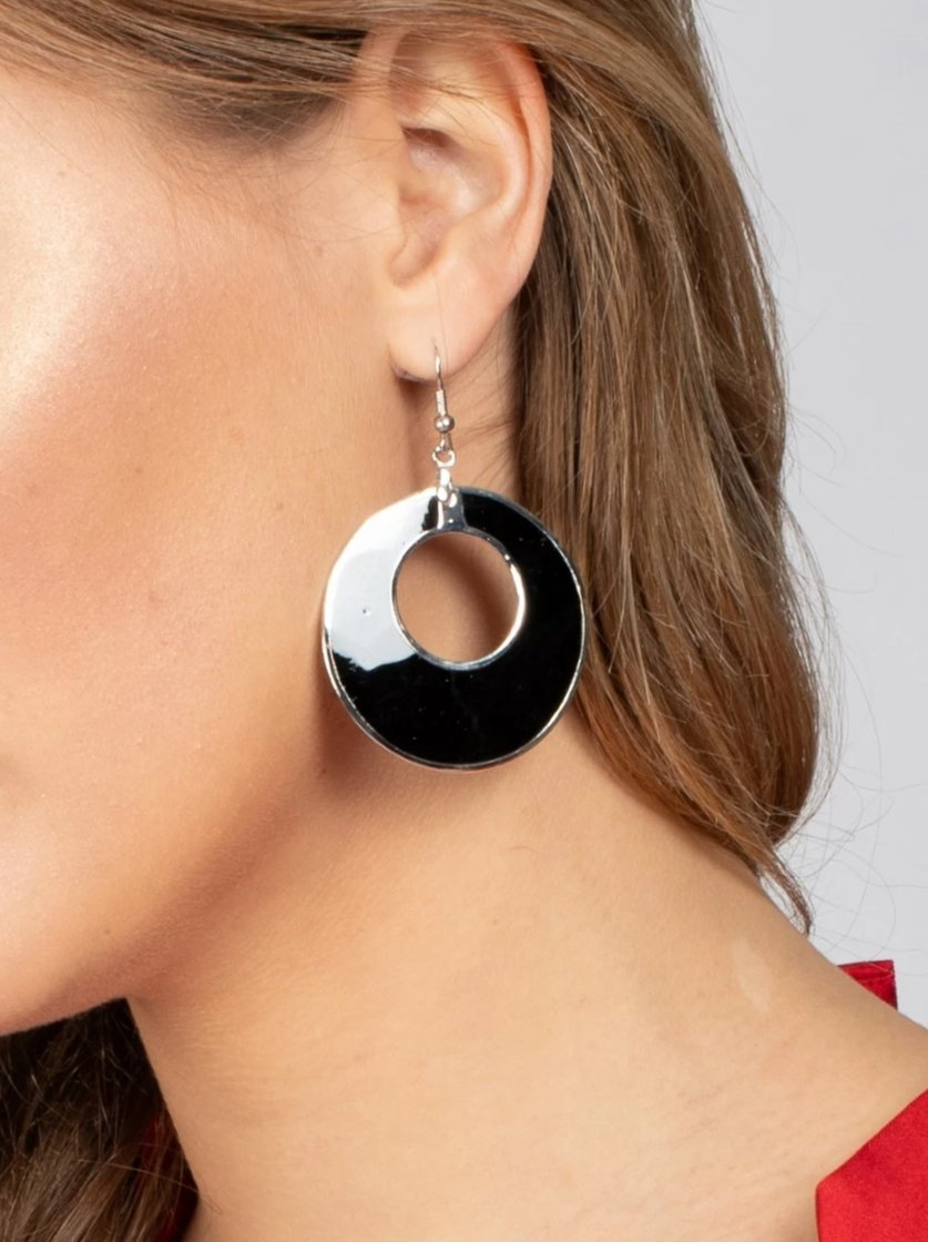 Patent Black and Silver Hoop Earrings