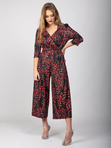 3/4 Sleeve Wrap Front Collared Jumpsuit, Red Berry
