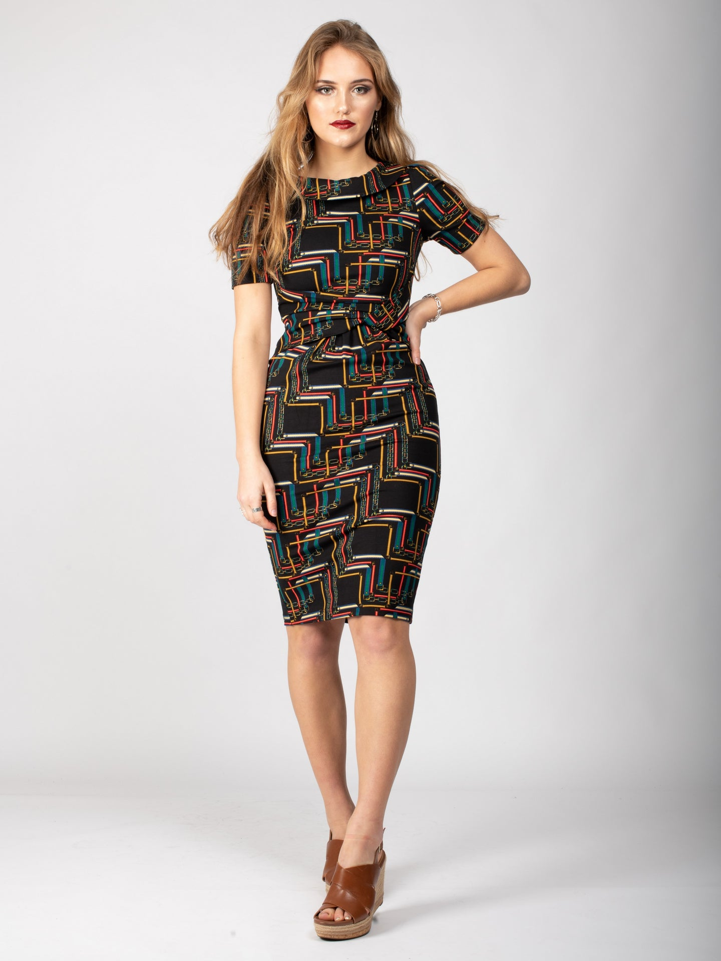 Collared Bodycon Midi Dress, Geo Multi