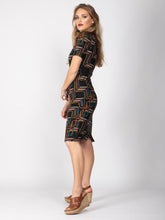 Load image into Gallery viewer, Collared Bodycon Midi Dress, Geo Multi