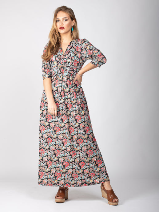 3/4 Sleeve Twist Front Silt Maxi Dress, Paisley Multi