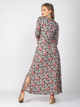 Load image into Gallery viewer, 3/4 Sleeve Twist Front Silt Maxi Dress, Paisley Multi