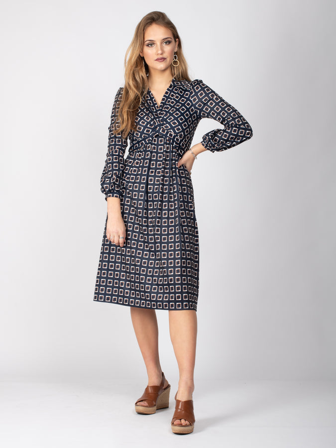 Sample Sale -Long Sleeve Twist Front Midi Dress, Navy Geo