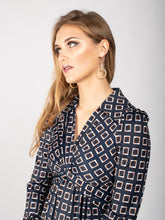 Load image into Gallery viewer, Long Sleeve Twist Front Midi Dress, Navy Geo