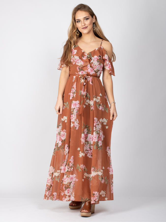 Sample Sale -Frill Detail Maxi Dress, Pink Floral