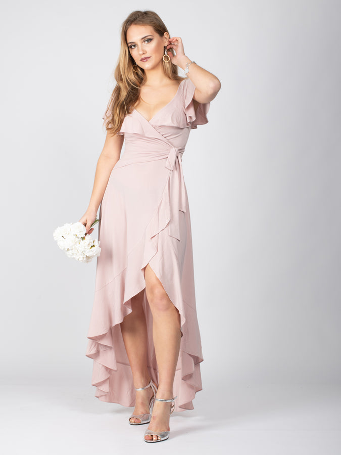 Sample Sale -Frill Detail Dip Hem Wrap Dress, Light Pink