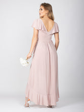 Load image into Gallery viewer, Bridesmaid Frill Detail Dip Hem Wrap Dress, Light Pink
