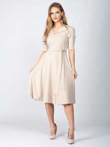 Mother of the Bride Collared Tie Waist Dress, Beige
