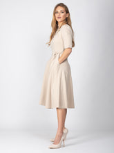 Load image into Gallery viewer, Mother of the Bride Collared Tie Waist Dress, Beige