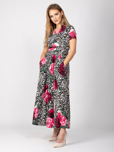 Sample Sale -High Neck Maxi Dress, Leopard Floral