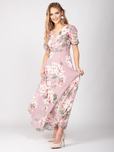 Bridesmaid Button Detail Puff Sleeve Maxi Dress, Pink Floral