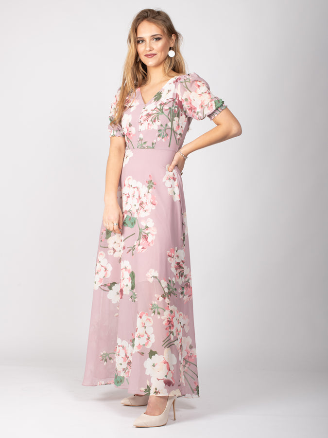 Sample Sale - Button Detail Puff Sleeve Maxi Dress, Pink Floral