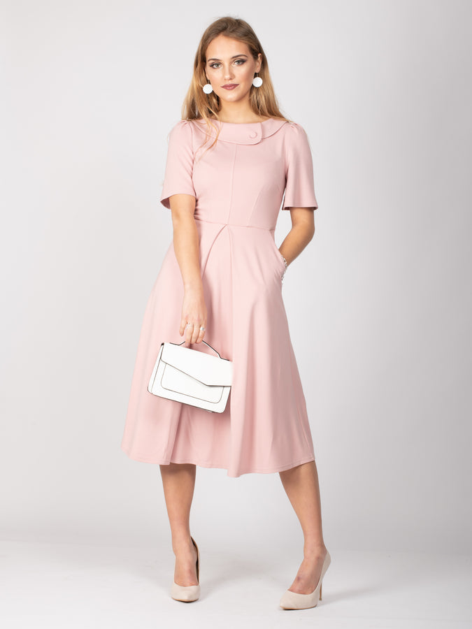Sample Sale - Collared Midi Dress, Light Pink