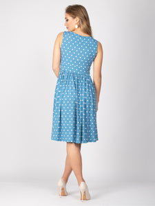 Sample Sale -Sleeveless Polka Midi Dress, Baby Blue Polka